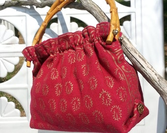 Cranberry Linen Look Woven Screen printed Purse with Bamboo Handles