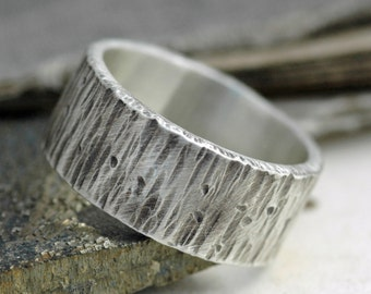 Thick Birch Bark Textured Oxidized Sterling Silver Band- 3/8 Inch Custom