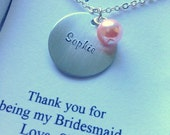 Bridesmaid, personalized name, thank, wedding party. FREE personalized notecard.