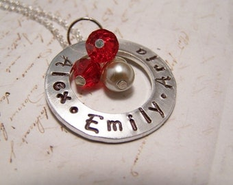 Personalized Mommy Necklace. Mom. Mother. THREE Names. children's names.  birthstone.