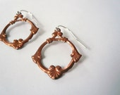 Copper earrings. Vintage copper dangles. Copper hoop earrings. Victorian style. Sterling silver earwires. Mixed metal. Pretty copper hoops.