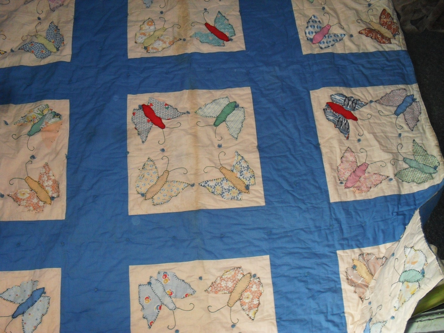 antique handmade quilts value vintage 1940s handmade quilt applique butterflys new low 678