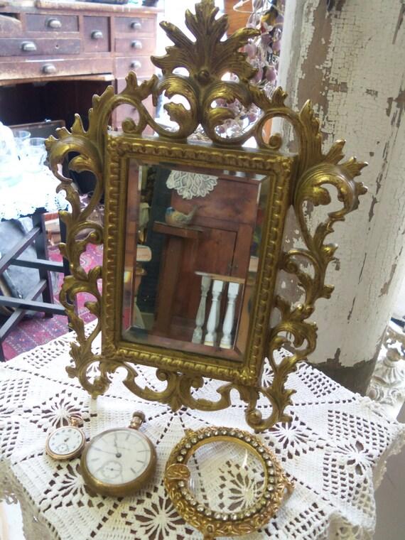 Vente chevalet vintage magnifique miroir biseaut de laiton for Miroir chevalet