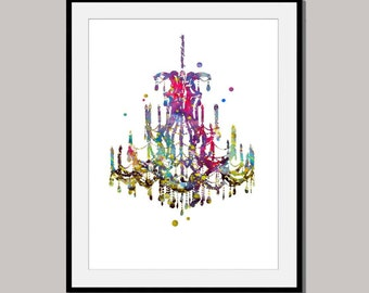 CRYSTAL CHANDELIER print art poster designed for 10 x 8 inch mixed media wall decor