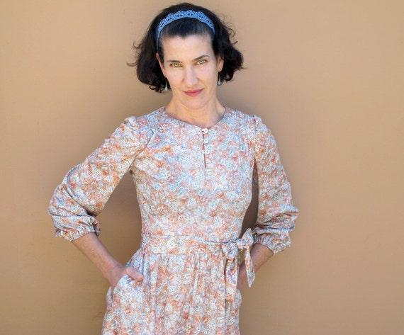 Vintage floral print Poly Jersey Dress Vtg size XS Small