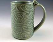 Green Ceramic Mug - Coffee Cup - Tea Cup - Waterlily - 581