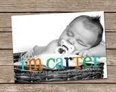 Birth Announcement : Hello Carter Two Baby Boy Custom Photo Birth Announcement