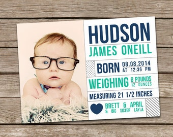 Birth Announcement : Hudson Baby Boy Custom Photo Birth Announcement - Modern Birth Announcement - Baby Announcement - Simple