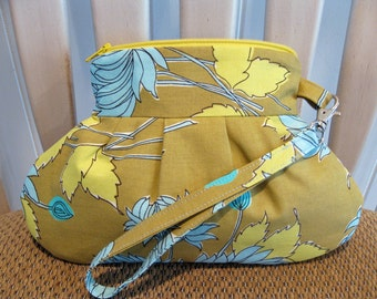 Pleated Cotton Fabric Wristlet in Lt. Olive, Blue and Yellow With Detachable Strap and Zipper Closure