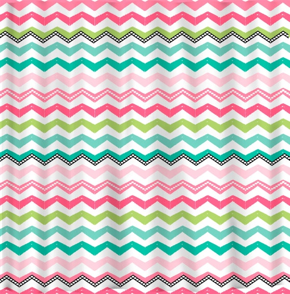 Items Similar To Personalized Chevron Shower Curtain Fancy Multi Color Chev