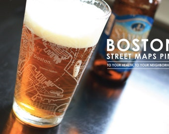 Boston Maps Pint Glass, set of 2