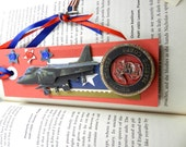 United States Marine Corps Bookmark, Red and Blue Ribbon with Flag Charm, Zine, Journals, Soldier, Veteran, Military, Verteran's Day