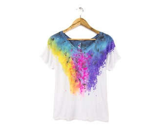 "Spectrum Rainbow Tee - Original ""Splash Dyed"" Hand Painted Relaxed Fit Flowy Scoop Neck T-shirt in White - Women's Size S-2XL"