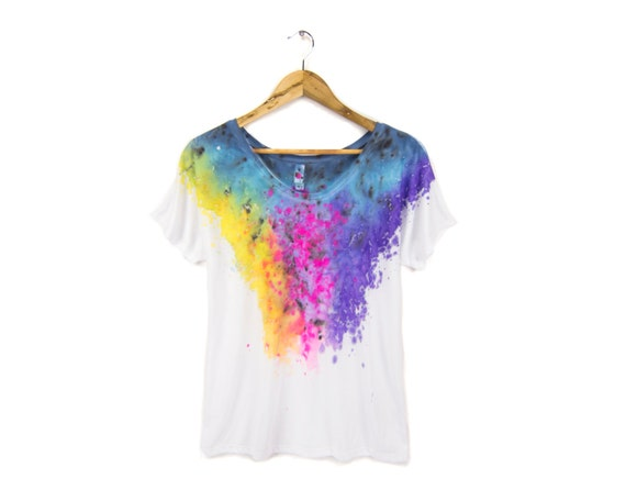 "The Original ""Splash Dyed"" Hand PAINTED Relaxed Fit Flowy Scoop Neck Tee in White Spectrum Rainbow - Women's S M L XL 2XL Q"