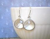 Clear Crystal Earrings, Silver Earrings, Mother Gift, Sister Gift, Holiday, Christmas Gift