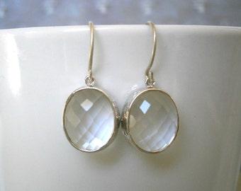 Clearance Sale, Jewelry Sale, Clear Crystal Earrings, Silver Earrings, Best Friend, Birthday, Mom, Sister, Wife