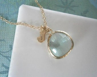 Personalized Necklace, Mint Green Necklace, Gold Necklace, Letter Necklace, Initial Necklace, Pendant Necklace,