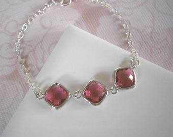 Ruby Bracelet, Fuchsia Bracelet, Silver Bracelet, Bridal Jewelry, Bridesmaid Bracelet, Best Friend, Birthday