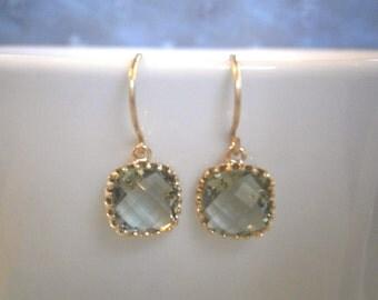 Grey Earrings, Petite Earrings, Gold Earrings, Gray Earrings, Simple, Everyday Jewelry, Best Friend Birthday