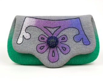 Women and Crown   Unique Grey felted wool clutch purse with crown and beaded button OOAK