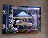 Vintage Japanese Style Black Lacquer Covered Small  Photo Album