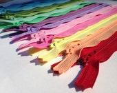 7 inch zippers, light, pastel color sampler, all purpose, dress, skirt YKK zippers, 15 pcs, blue, mint, moss, yellow, pink, orange, lavender