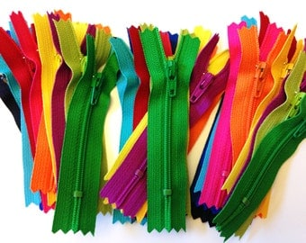 3 inch YKK zippers wholesale, 36 pcs, brights, black, royal blue, turquoise, aqua, red, hot pink, sunflower, orange, yellow, fuchsia, green