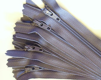7 inch grey zippers, medium grey YKK color #195, Choose Ten or Twenty-five pcs