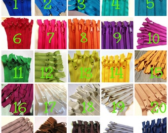 14 inch Handbag zippers with long pull, Choose Twenty-five pcs, neutrals, turquoise, aqua, purple, green, sunflower, orange, hot pink, red