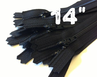 14 Inch black YKK zippers, TEN pcs, YKK color 580, dress, pouch zippers, sewing supplies