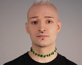 Gothic Zombie Frankenstein Stitch Necklace - Brite Green with Hand painted Blood with medium stitches