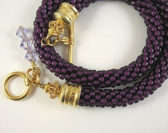 Blackberry Colored Glass Bead Crocheted Necklace