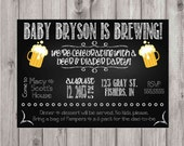 Digital Chalkboard Style Diapers and Beer Baby Shower Party Invitation DIY Printable