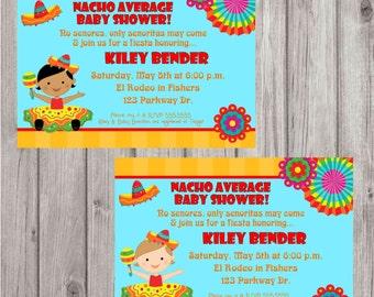 Digital Fiesta Girl Baby Shower or 1st Birthday Personalized Invitation Printable DIY