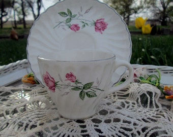 Vintage Teacup Tea Cup and Saucer  Shabby Rose bud Roses Stoneware