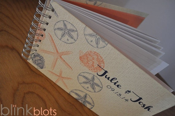 wedding guest book with beach theme custom design