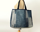 Large Tote Bag- No.19- Patchwork- Cotton-Jean
