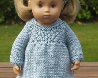 """Sasha 12"""" 13"""" Baby Toddler Doll Textured Yoke Dress Knitting Pattern"""