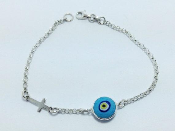 Blue Evil eye cross bracelet - 925 sterling silver