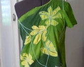 Upcycled Clothing, Green Shirt, Recycled Shirt, Refashion, Handmade Shirt, Unique Clothing, Flowers,Summer Top,One Sleeve Shirt,Unique Shirt