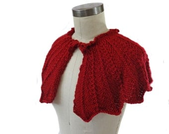 Cranberry Red Wedding Capelet - Hand Knit - Bridal Capelet - Winter Wedding