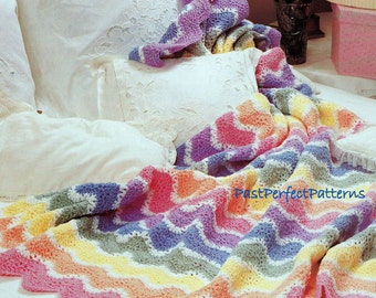 INSTANT DOWNLOAD PDF Vintage Crochet Pattern for Pastel Rainbow Afghan Throw Blanket Granny Stripes Quilt Retro 99p