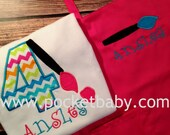 Personalized Paint Party Shirt and Apron - Paint Party Birthday Tee and Child Apron - Art Party Shirt - by Pocketbaby