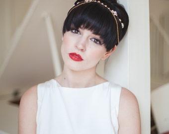 Gold bridal headband, headpiece, hair peice, hair accessories, bridal chain headpiece, pearl, rhinestone, brow band, forehead jewelery,