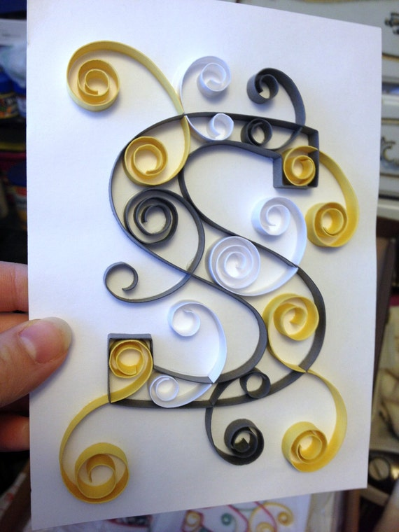 Paper quilling art, 5x7 picture, paper quilled letter, paper quilled monogram, quilled paper art work, wedding gift, baby gift
