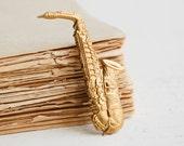 Saxophone Tie Tack Gold Saxophone Lapel Pin Marching Band Music Jazz Band I Love SAX