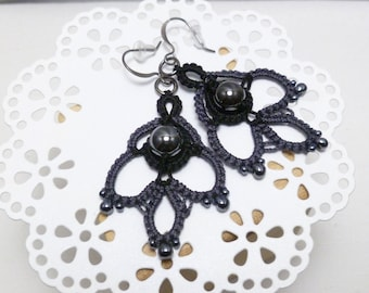 Tatted Lace Earrings with Hematite and glass beads -Indulgence