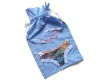 "Blue Laundry /Lingerie Bag Embroidered  ""Smalls"" Bride Shower Bachelorette Gift"