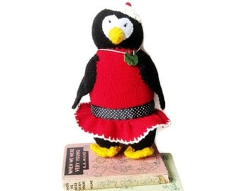 Knitted  Girl  Penguin- Handmade- Custom Made Original OOAK