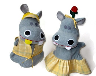 Hand Puppet Hippos - Custom George and Martha Set from Story Book Fame/Hippos in Clothes/ Fancy Dress HiPPOS